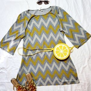 Zigzag print swing dress